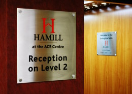 stainless steel plaques in offices in Lancashire